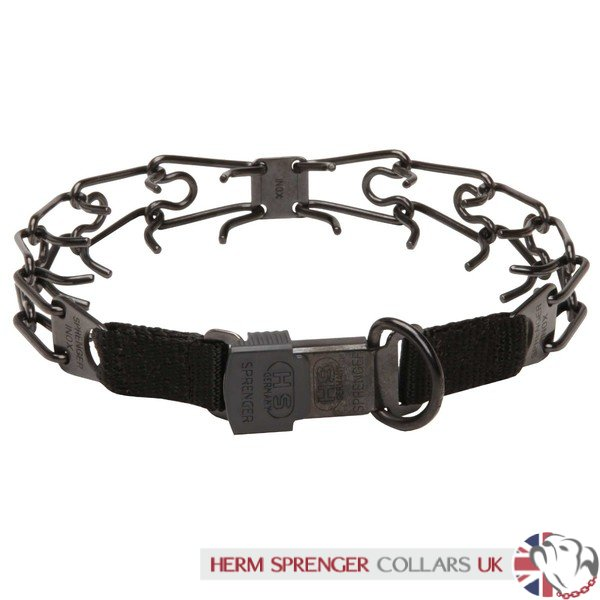 """Daily Trainer"" Black Stainless Steel Herm Sprenger Prong Collar for Dog Training"