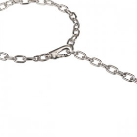 """Hook Time"" Chrome Plated Adjustable Chain Dog Collar with Snap Hook, 3 mm"