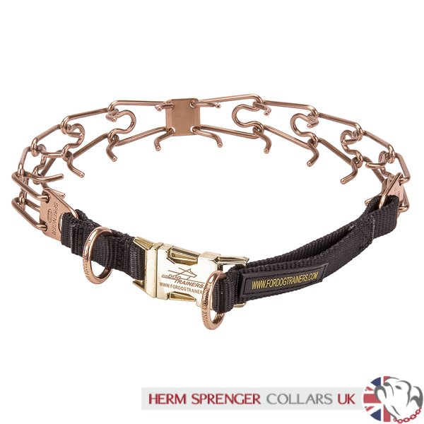 """Dragging Fighter"" 3.2 mm Curogan Herm Sprenger Prong Collar with Side Release Buckle"