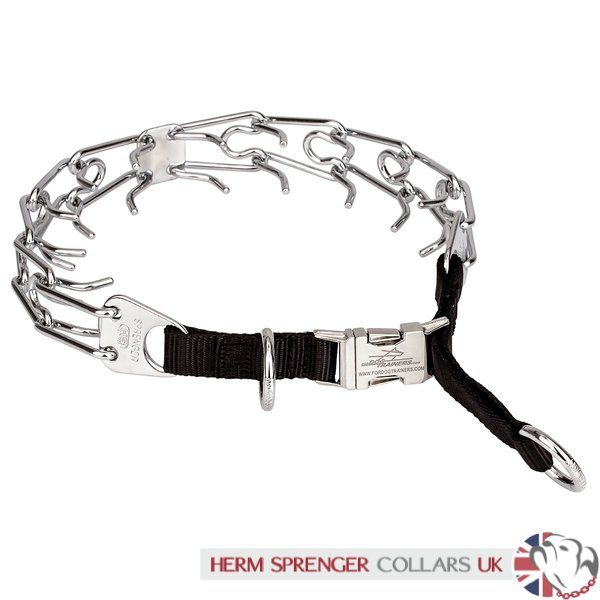 """Fast Click"" Chrome Plated Steel Dog Prong Collar with Buckle, 4 mm Wire Gauge"