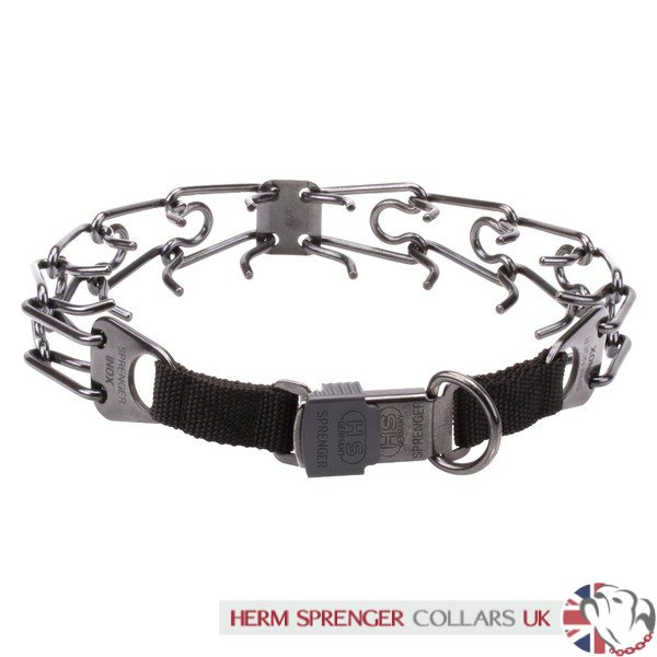 """Black Force"" Herm Sprenger Black Stainless Steel Pinch Collar with Click-Lock Buckle 4 mm"