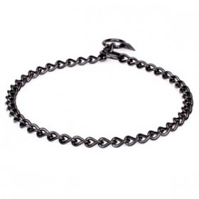"""Elegant Correction"" Black Dog Choke Chain, 3 mm Stainless Steel"