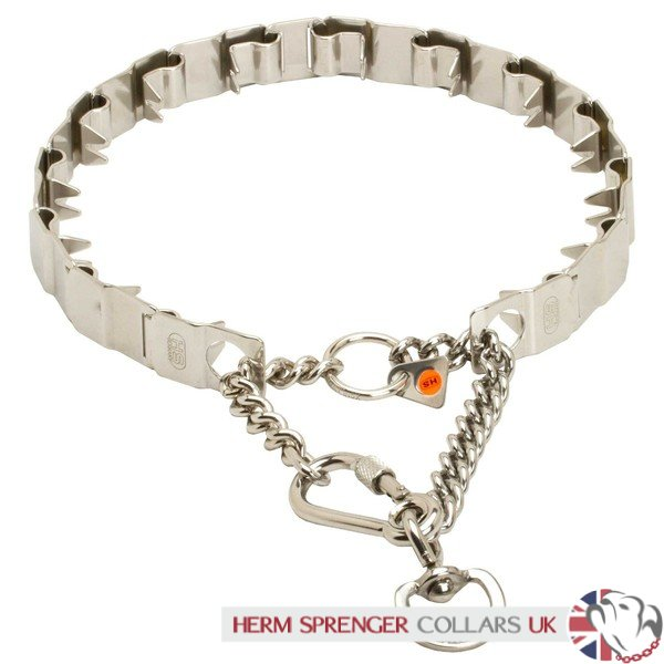 """Touch of Tame"" X-Large Herm Sprenger Prong Collar Stainless Steel Neck Tech SPORT"