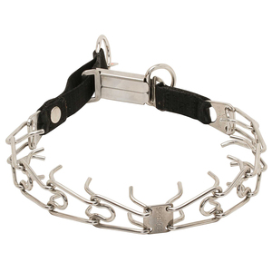 """Taming Loop"" 3.2 mm Stainless Steel Dog Pinch Collar with Buckle and Nylon Loop"