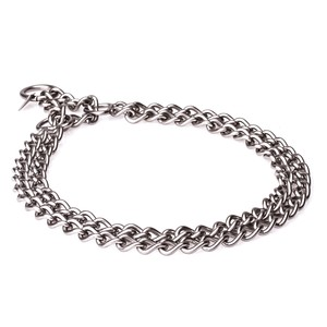 """Manners Maker"" Stainless Steel Double Chain Dog Collar with Martingale Loop, 3 mm"